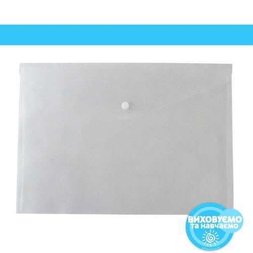 Папка-конверт А4 на кнопці, прозорий