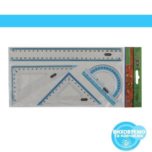 Комплект:лінійка 25см, 2трикутники, транспортир, з блакитними смужками