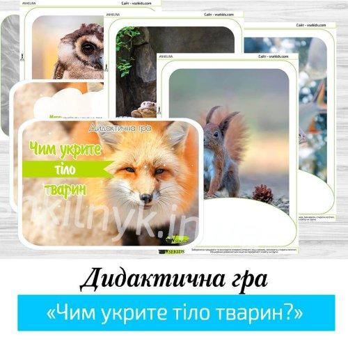 Дидактична гра «Чим укрите тіло тварин?»